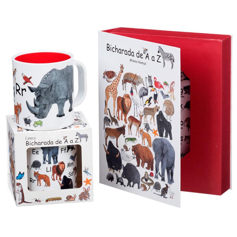 Kit com 2 canecas ilustradas e 1 livro Bicharada de A a Z (capa dura)