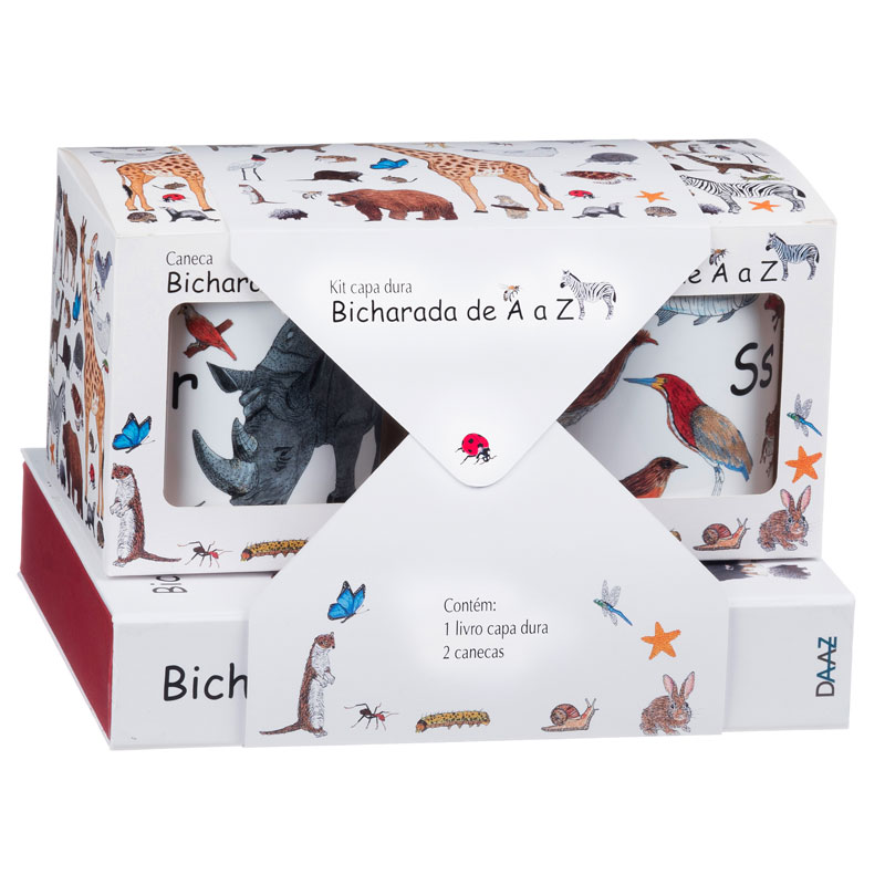 Embalagem - Kit com 2 canecas ilustradas e 1 livro Bicharada de A a Z (capa dura)