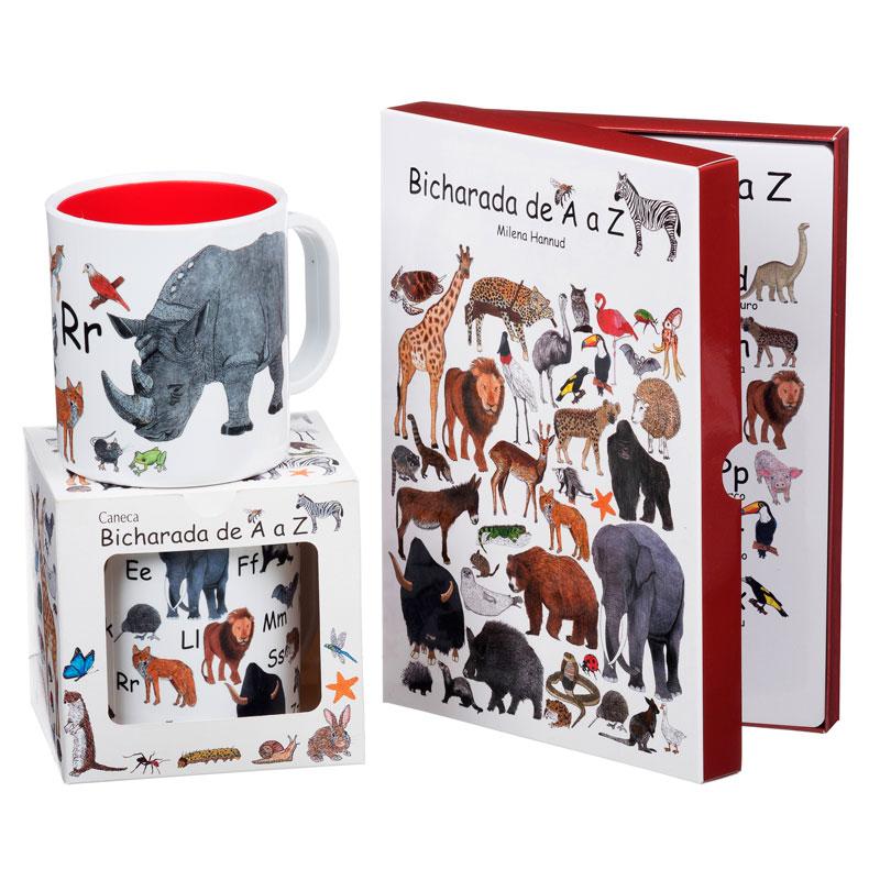 Kit com 2 canecas ilustradas e 1 livro Bicharada de A a Z (capa mole)