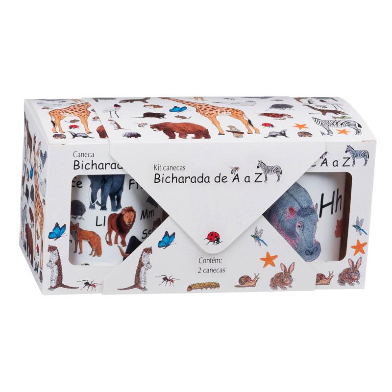 Embalagem - Kit com 2 canecas Bicharada de A a Z