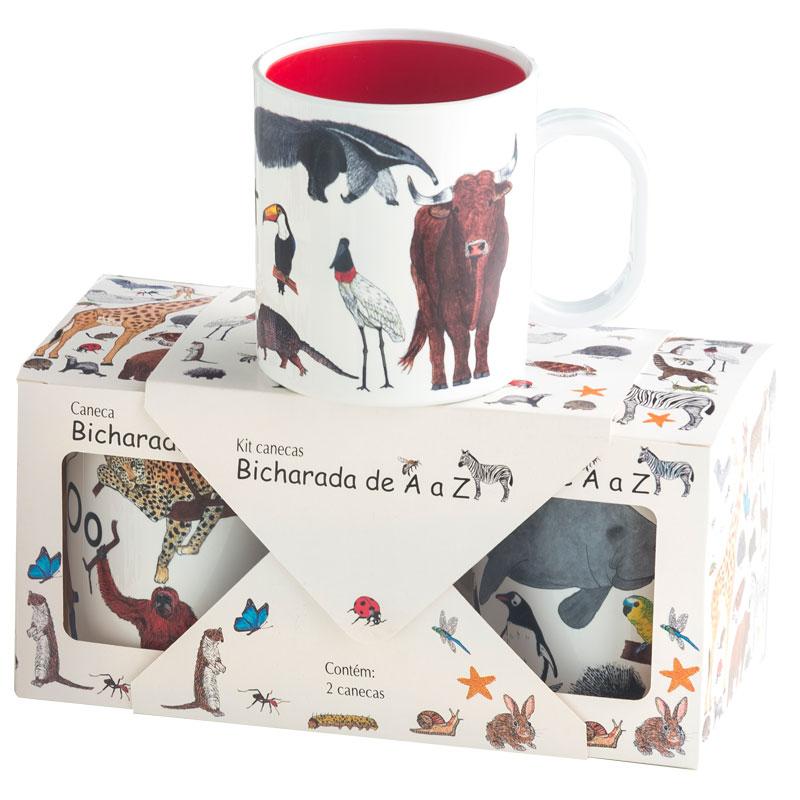 Kit com 2 canecas ilustradas com as letras e os animais do livro Bicharada de A a Z