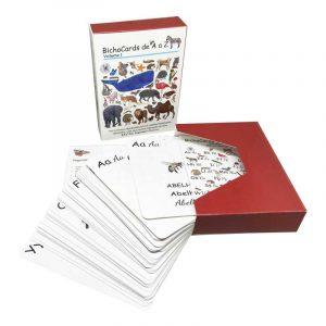 Bichocards Volume 01 - Caixa e cartões ilustrados com letras do alfabeto e animais