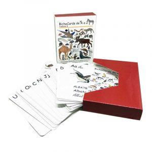 Bichocards Volume 02 - Caixa e cartões ilustrados com letras do alfabeto e animais