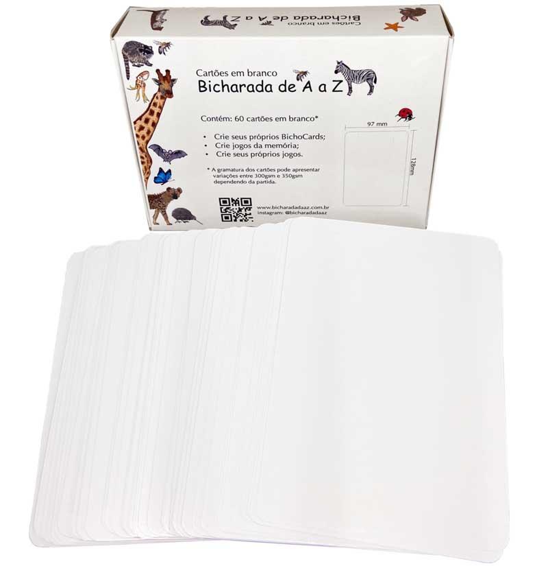 Bicharada de A a Z Cartões em branco - Caixa em pé e cartões em branco