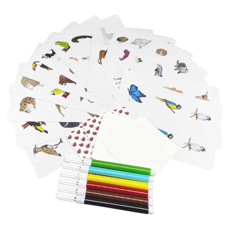 BichoDuos de A a Z - cards em branco e cartelas de adesivo com ilustrações de animais
